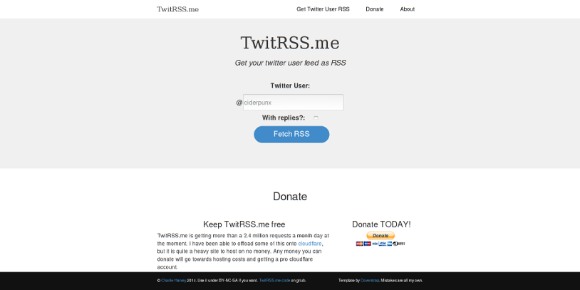 TwitRSS.me: Get an RSS feed of a Twitter search cover image