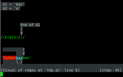 screenshot of regexp::debugger doing its thang