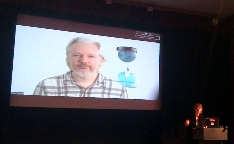 Julian Assange talking at #LoganCIJ14