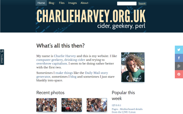 screen grab of beta.charlieharvey.org.uk