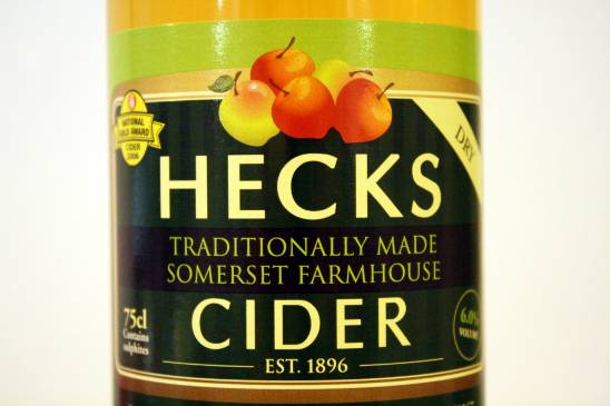 Bottle of Hecks dry Somerset farmhouse cider
