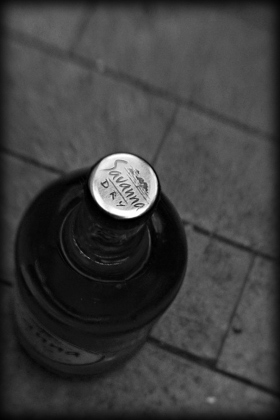 Savanna Dry Cider arty black and white shot of bottle