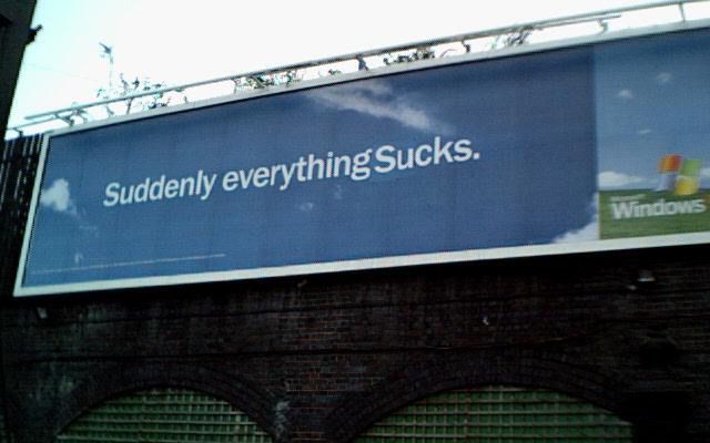 Suddenly everything sucks billboard graff